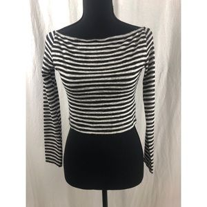 CATHERINE FULMER Black White Cropped Sweater Sz 4